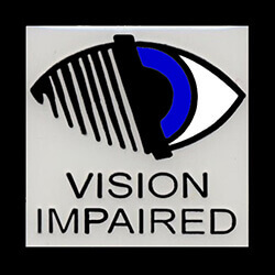 "Picture of an eye with the words ""vision impaired"" under the eye."